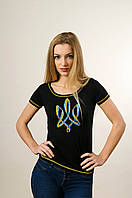 Жіноча вишита футболка з  Тризубом чорна