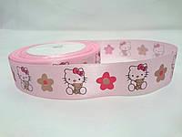 """Лента атласная с рисунком 2,5см розовая """"Hello Kitty"""""""
