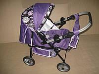 Коляска для кукол Mini Ring Adbor 301 фиолетовая в цветочек на чёрном фоне