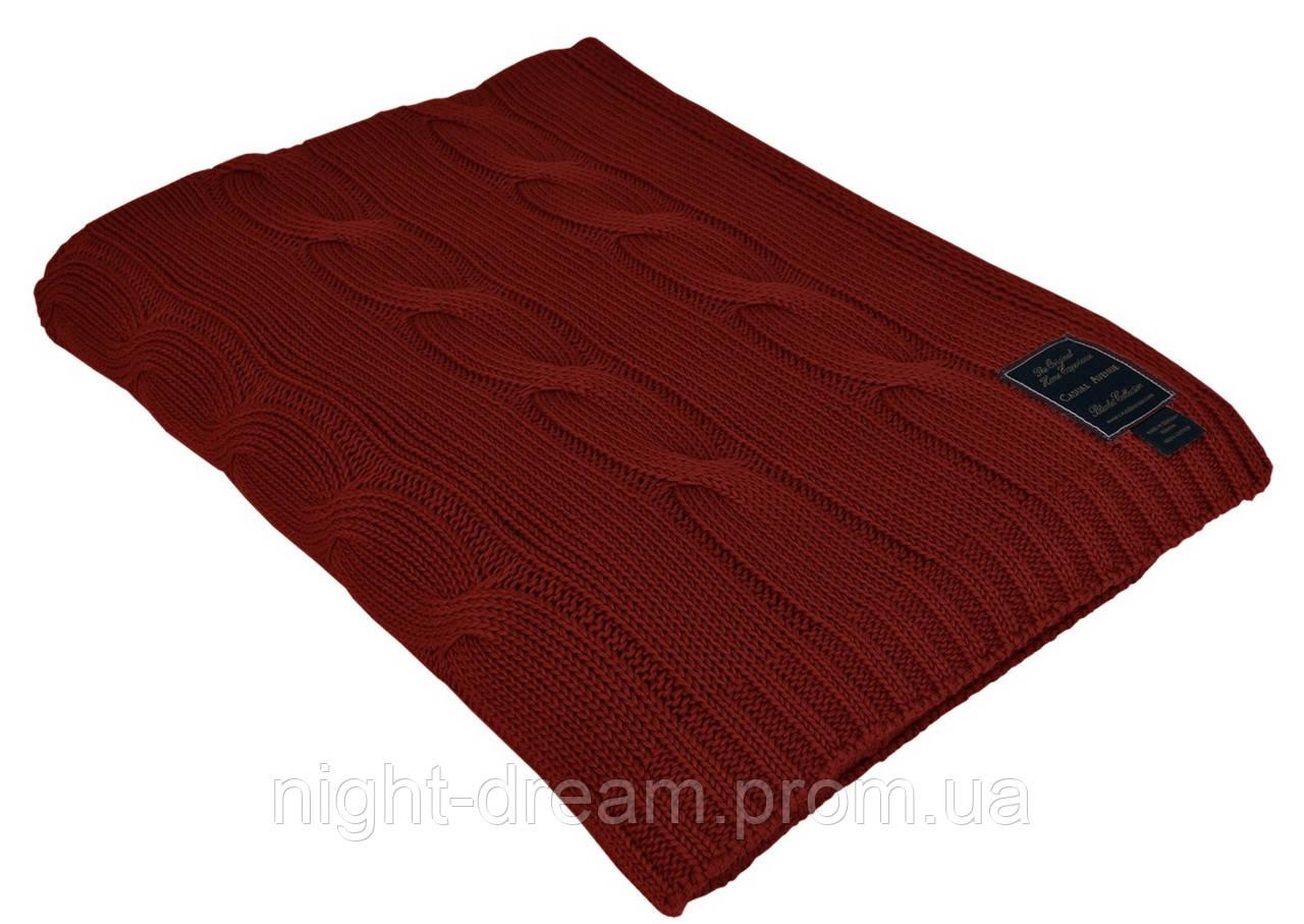 Вязаный хлопковый плед 130х170 Messina RED WINE от CASUAL AVENUE