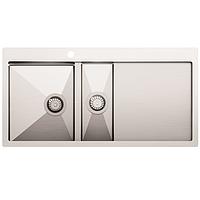 Кухонная мойка из нержавеющей стали 1000x510 мм. AquaSanita LUN151M-L левая, 2 чаши