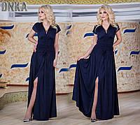 Нарядное длинное женское платье с коротким рукавом ткань турецкое микромасло