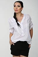 Белая женская офисная рубашка с четвертным рукавом