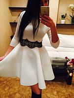 Женское красивое платье из неопрена со вставкой кружева (3 цвета)
