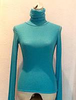 Кофта водолазка женская сетка Leagel с горлом голубая