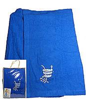 Парео (килт, юбка) для бани и сауны мужское синее, Ярослав