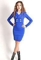Приталенное женское платье синего цвета