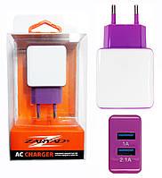 Сетевое зарядное устройство на 2 USB. Фиолетовый