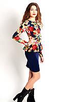Женское платье с баской в цветочный принт, фото 1
