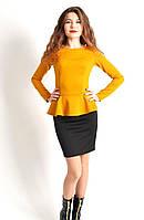 Молодежное платье с баской желтого цвета