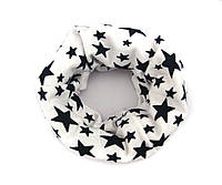 Детский шарфик хомут снуд белый «Star»