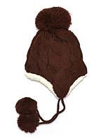 Детская теплая шапка с завязками на уши Brown