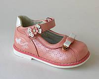 Туфли для девочек Шалунишка арт.100-118 розово-белый бантик