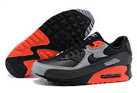 Кроссовки мужские Nike Air Max 90 Premium Black Ash Grey Total Crimson (найк аир макс 90, оригинал)