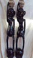 Статуэтка деревянная Маори с горшком для цветов высота 115см