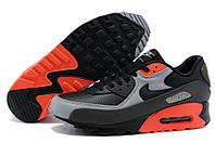 Кроссовки мужские Nike Air Max 90 Premium Black Ash Grey Total Crimson Оригинальные