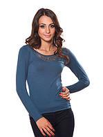 Нарядный пуловер с ажурной спинкой