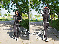 Спортивный костюм женский Черный с лампасами