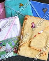 Детское полотенце 80х80 с капюшоном (уголком) и рукавичка