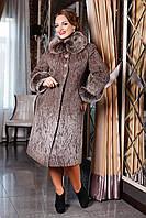 Зимнее удлиненное женское пальто из шерстяной ткани с воротником из натурально2го меха Сальма р. 48-6
