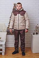 Мужской зимний костюм на синтепоне коричневый, фото 1
