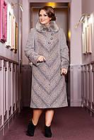 Зимнее удлиненное женское пальто из шерстяной ткани с воротником из натурального меха Найдира р. 50-6