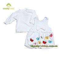 Модный белый  детский сарафан с кофтой для девочки