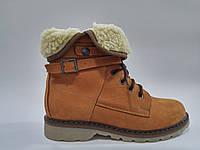 Кожаные женские зимние коричневые модные удобные ботинки на плоской подошве