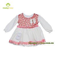 Велюровое розовое платье с гипюром на девочку