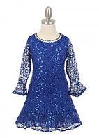 Нарядное кружевное платье с блёстками размер 8