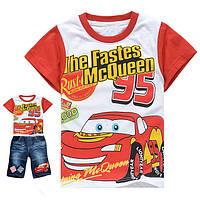 Летний костюм с джинсовыми бриджами Тачки Молния Маквин на 5-6 лет