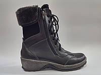 Кожаные женские зимние черные модные удобные спортивные ботинки на платформе 38р