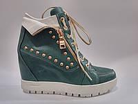 Женские зимние кожаные бирюзовые модные сникерсы ботинки на танкетке