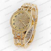 Женские часы Rolex DayJus кварцевые золотые браслет корпус и циферблат украшены стразами