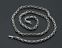Мужская серебряная цепочка цепь Chrome Hearts 60 см 5 мм 42,6 грамма