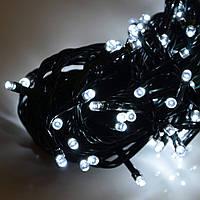 Гирлянда светодиодная нить, 10 м - цвет белый - холодный, черный провод