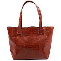 Женская сумка из натуральной кожи. Модель 03 рыжий кайман