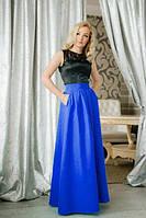 Женское синее длинное платье в пол