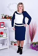 Женское элегантное красивое платье Ирена синий-белый размер 52-62