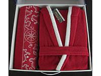 Набор: халат + полотенце 70х140 Altinbasak Pacific красный р.L