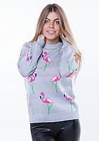 """Модный женский вязаный свитерок """"Фламинго"""""""