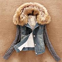 Женская куртка джинс мех