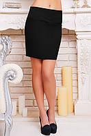 Женская строгая черная юбка из костюмного шелка