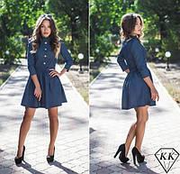 Молодежное джинсовое платье в горошек . Арт-3263/23