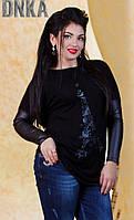 Красивая женская туника турецкий трикотаж со вставками экокожа батал