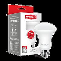 Светодиодные лампы для дома Maxus рефлектор E27 7W R63 220V теплый свет