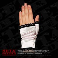 Белые женские перчатки (митенки) атласные короткие без пальцев