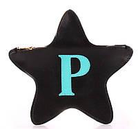 Оригинальный кожаный клатч-косметичка POOLPARTY STAR star-black-blue черная
