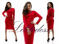 Платье длина миди красный