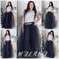 Платье длинное из гипюра с фатиновой юбкой черной